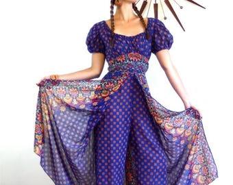 Spring SALE 25% 70s OnePiece Kaftan Vintage Indian Hippie Jumpsuit Harem Pants Split Skirt Onepiece Blue Cotton Paisley Print 1970s Ethnic L