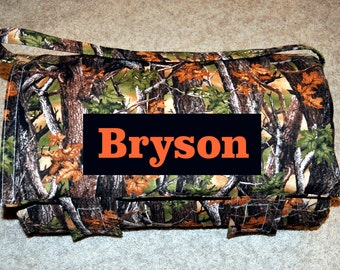 Nap Mat - Monogrammed Mossy Oak Trees Camouflage Nap Mat with an Orange Minky Dot Blanket