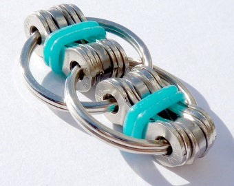 Bike Chain Fidget Toy TURQUOISE Silicone Ring ADHD ADD Autism Dexterity Focus Relaxation Concentration Hyperactivity Calming Device