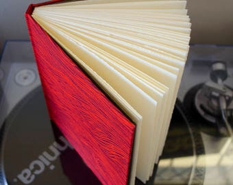 Basic Beautiful Hardcover Sketchbook - Pink and Red Woodgrain Pattern with Grey Brown End Paper