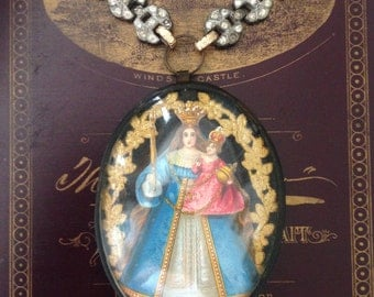 LAYAWAY for BATMAR2550-Madonna with Child Jesus Reliquary Necklace and French Carved Meerschaum Necklace- Second Layaway Payment