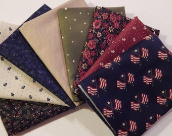 NEW Liberty Hill Quilt Fabric 100% Cotton Americana  8 Coordinating Fat Quarters  Navy Bundle