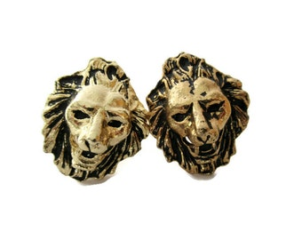 Vintage Lion Cufflinks, Gold tone Gothic Lion Face Cuff Links