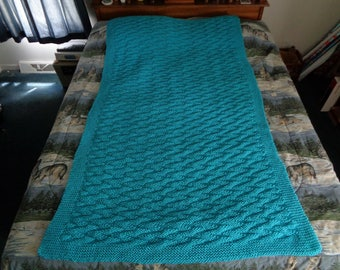 Turquoise Hand Knitted Zigzag Afghan,  Blanket,  Throw - Home Decor