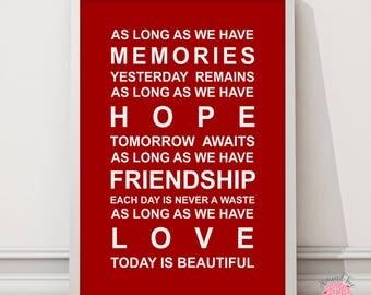 Memories typography bus scroll wall art print
