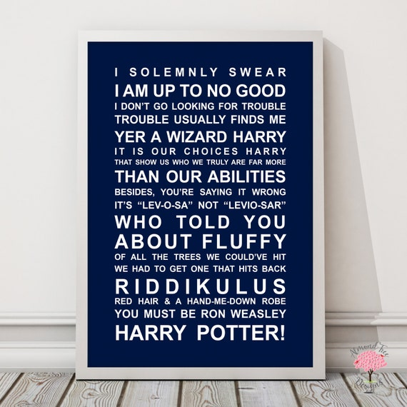 Movie Quotes Wall Art : Harry potter movie quotes wall art poster typography
