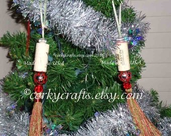 Wine Cork ornament set of two, sage and red tassel ornaments