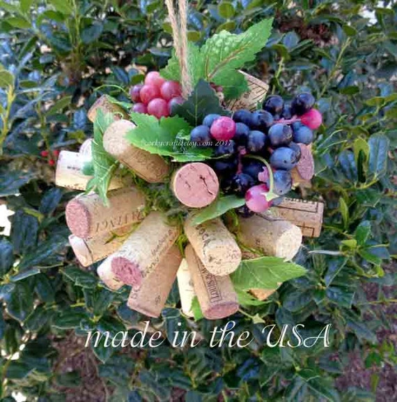 Wine Cork kissing ball, pomander/flower girl bouquet/vineyard wedding, floral alternative