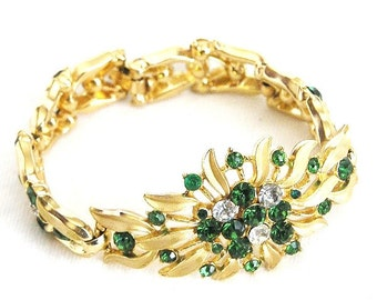 Trifari Green and Clear Crystal Bracelet
