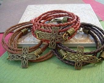 Filigreed Cross Triple Wrap Leather Bracelet, Cross Bracelet, Braided, Heart Clasp, Wrap, Womens Jewelry, Womens Bracelet, Religious Gift