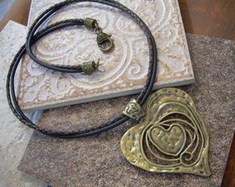Womens Leather Necklace with Large Antique Bronze Heart Pendant, Leather Necklace, Womens Jewelry, Womens Necklace, Gift for Her, Heart