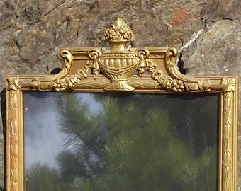 Vintage Mirror, Wood and Gesso Frame, Wall Hanging Mirror, Urn and Flower Design, Great Patina, Stacking, Leaning Mirror