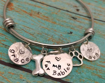 Love My Fur Babies Bracelet, Love my Fur Babies Jewelry, Dog Lover Jewelry, Love my Dogs, Sterling Silver Personalized Bangle Hand Stamped