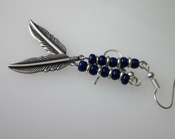 Metal Feather Earrings, Medium Silver Feather, Mens,Tribal Jewelry, Silver Dangle Earring, Long Silver Dark Blue