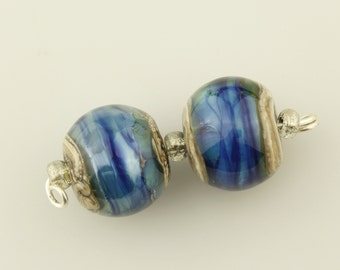 Lampwork Glass Beads, - Iridescent Blue Earring Pair