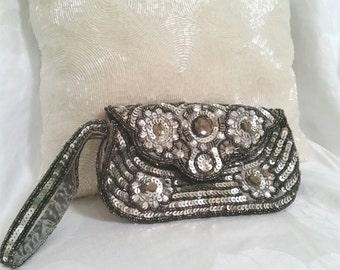 wedding bag, vintage beaded bag, silver sequin bag, silver grey wristlet, silver evening bag, sequin purse, grey beaded purse