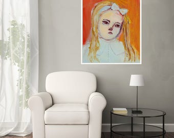 Fine Art Print, Giclee Art, from painting, modern wall art orange turquoise, girl, by Ana Gonzalez