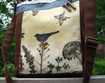 Bird Tote,Eco-friendly Tote, Shoulder Bag, Vegan Bag, purse, Zipper Closure, 5 Large pockets, Waxed and Cotton Canvas