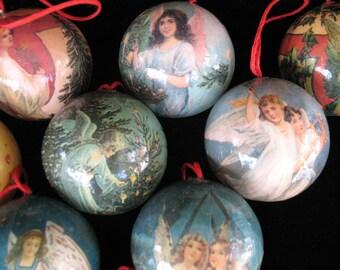 Christmas Tree Balls with Angels - Paper Mache - Set of Ten