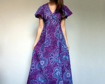 Vintage Purple Dress Boho Hippie Maxi Dress 70s Flutter Sleeve Hippie Dress - Small to Medium S M