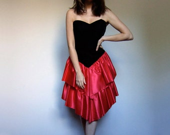 Christmas Dress Vintage Black Red 80s Party Dress Strapless Prom Dress Holiday Ruffle Dress - Small to Medium S M