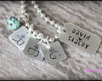 Hand Stamped Family Necklace, Hand Stamped Necklace, Couples Necklace, Family Necklace, Kids Initials Necklace, Mommy Necklace, Mama Mia