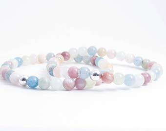 Morganite Bracelet - Morganite Jewelry - Morganite Bead Bracelet - Meditation - Yoga- Layering Bracelet - Stacking Bracelet - Spring Colors