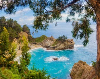 Wall mural, self adhesive, California open window view-46x65-Big Sur, McWay Falls View- free US shipping
