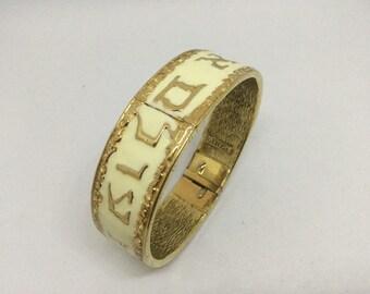 Clearance Vintage CINER Hebrew letters Judaica Enamel Clamper Bangle Bracelet