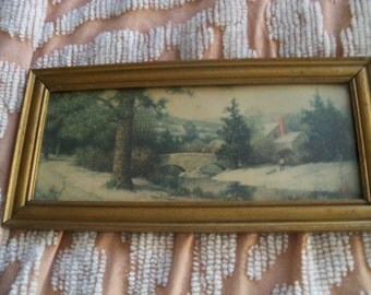 antique litho print scenery framed  days gone by
