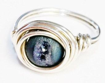 Druzy Ring   Blue Druzy Ring  Pixie Dust Ring   Blue Gemstone Ring  Sterling Silver Ring