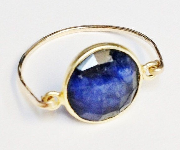 blue sapphire ring sapphire gemstone ring 14k gold filled