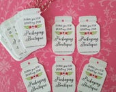 "60 2.4"" Mason Jar Hang Tags or Earring Cards - custom design included - Printed on white or brown kraft"