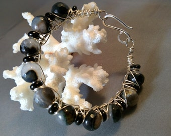 Tibetan Black Quartz & Onyx Sterling Silver Bangle