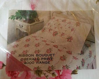 New Vintage  FULL FLAT sheet pink roses and ribbons Fieldcrest