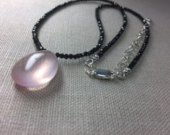 Black Spinel Necklace with Rose Quartz Briolette in Sterling Silver