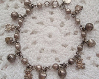 Vintage Silver Charm Bracelet Hearts Teddy Bears Bells Could be Sterling