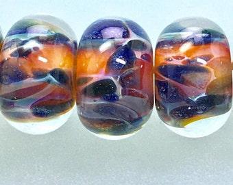 Sale boro lampwork glass beads set amber purple pinks brilliant colorful beads by paulbead art glass beads jewelry design earring pairs