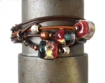 Bebe's Glass Boro Bead 5 strand Brown Women's Leather Bracelet Patina silver Plated Clasp Meduim #23