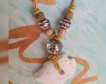 Nautical FL Sea Shell Clam Corded Necklace - Adjustable Slip Knots