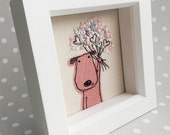 Celebration Puppy Handmade Embroidered Picture. Puppy with bouquet. Box frame white wood mini. Gift idea birthday, Mothers Day, Valentine's