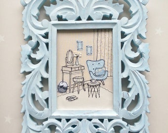 Handmade embroidered picture The Powder Blue Room all freehand machine stitched. Framed in a large 13 inches tall ornate wooden blue frame.