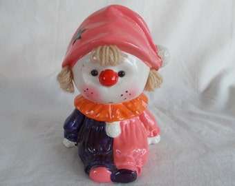 Vintage Small Clown Girl Bank With Yarn Hair