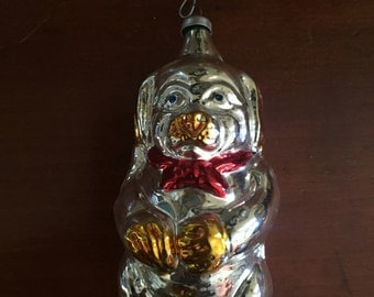 Vintage German christmas ornament of glass dog