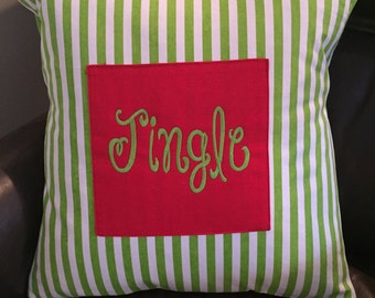 Jingle Lime Green Striped Pillow Cover; Available in Red Stripe; Can personalize as well!