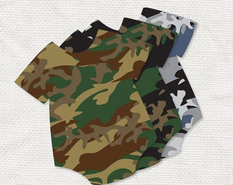 camouflage baby boy tags for baby shower decorations - printable instant download - one piece army, military, hunting, green, brown and gray