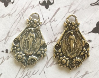 """Miraculous Mary Medal Vintage Reproduction Sterling or Brass 15/16"""" Religious Medal  1 pc (MM1)"""