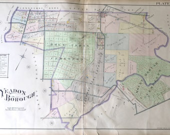 Original 1910 Delaware County Atlas map of Yeadon Borough Lansdowne