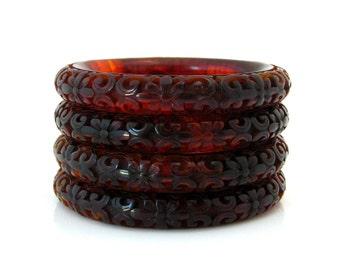 """Kenneth Jay Lane """"Carved"""" Asian Flower Lucite Bangles  • Signed KJL Molded Plastic Tortoise Shell Bracelet • Designer Costume Jewelry"""