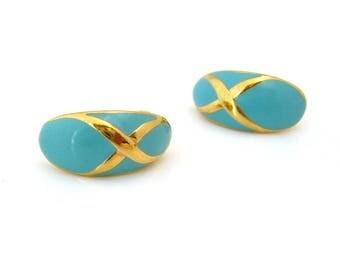 1980s Turquoise Blue Enamel Earrings | Gold-tone X Design |  Pierced | Vintage 80s Jewelry